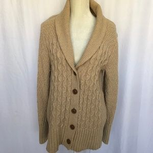 Eddie Bauer Lambswool Cable Knit Cardigan Sweater